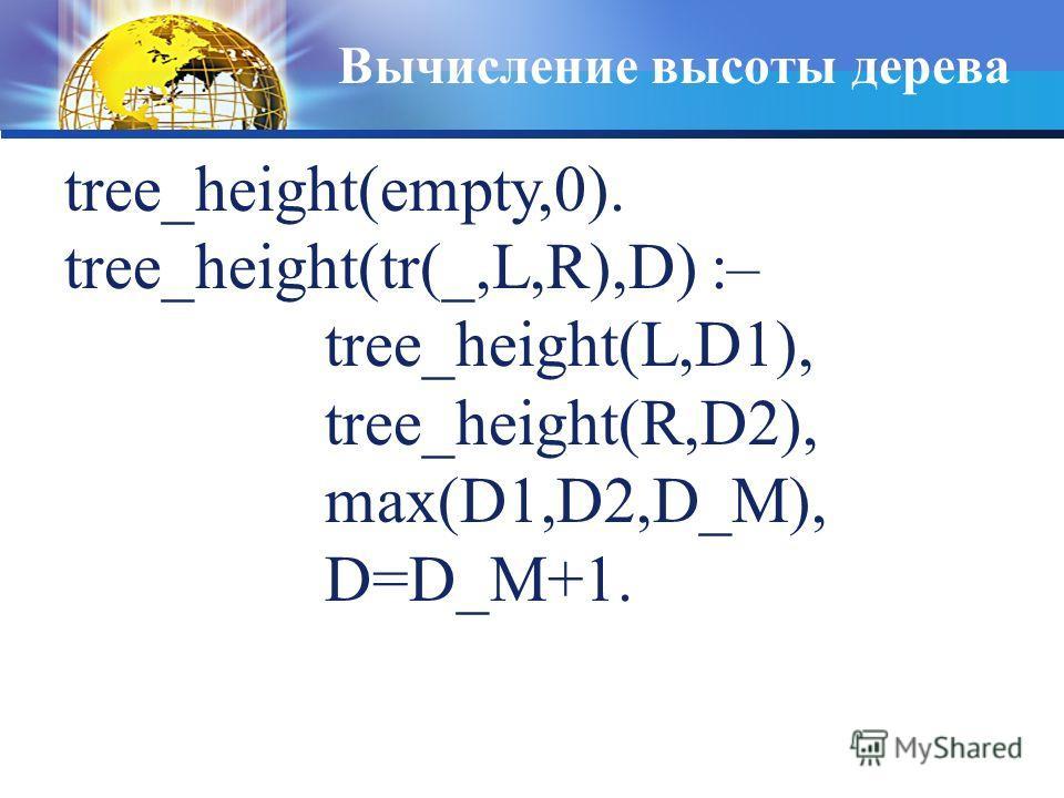 Вычисление высоты дерева tree_height(empty,0). tree_height(tr(_,L,R),D) :– tree_height(L,D1), tree_height(R,D2), max(D1,D2,D_M), D=D_M+1.