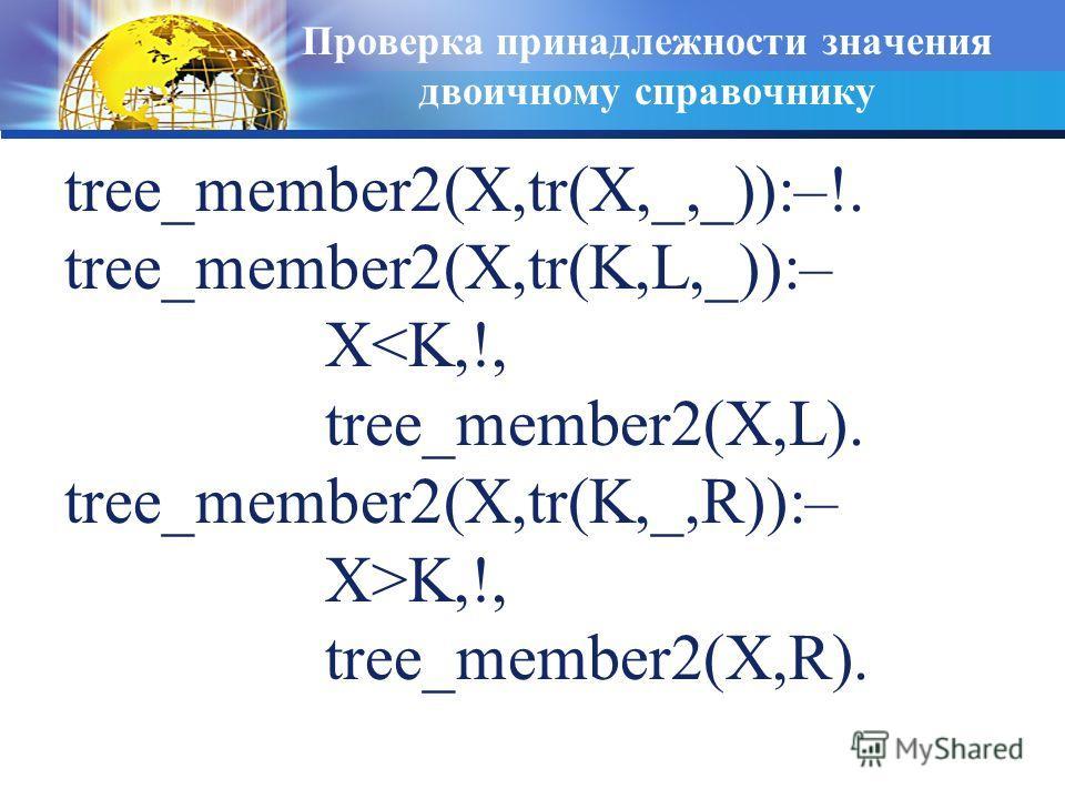 Проверка принадлежности значения двоичному справочнику tree_member2(X,tr(X,_,_)):–!. tree_member2(X,tr(K,L,_)):– XK,!, tree_member2(X,R).