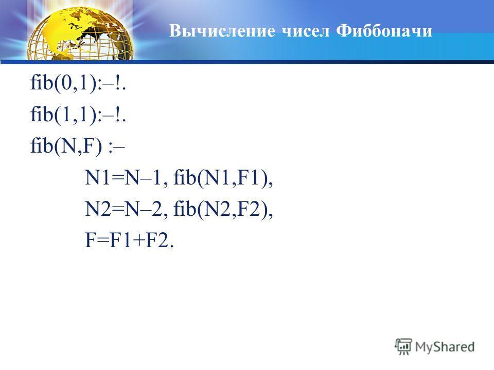 Вычисление чисел Фиббоначи fib(0,1):–!. fib(1,1):–!. fib(N,F) :– N1=N–1, fib(N1,F1), N2=N–2, fib(N2,F2), F=F1+F2.
