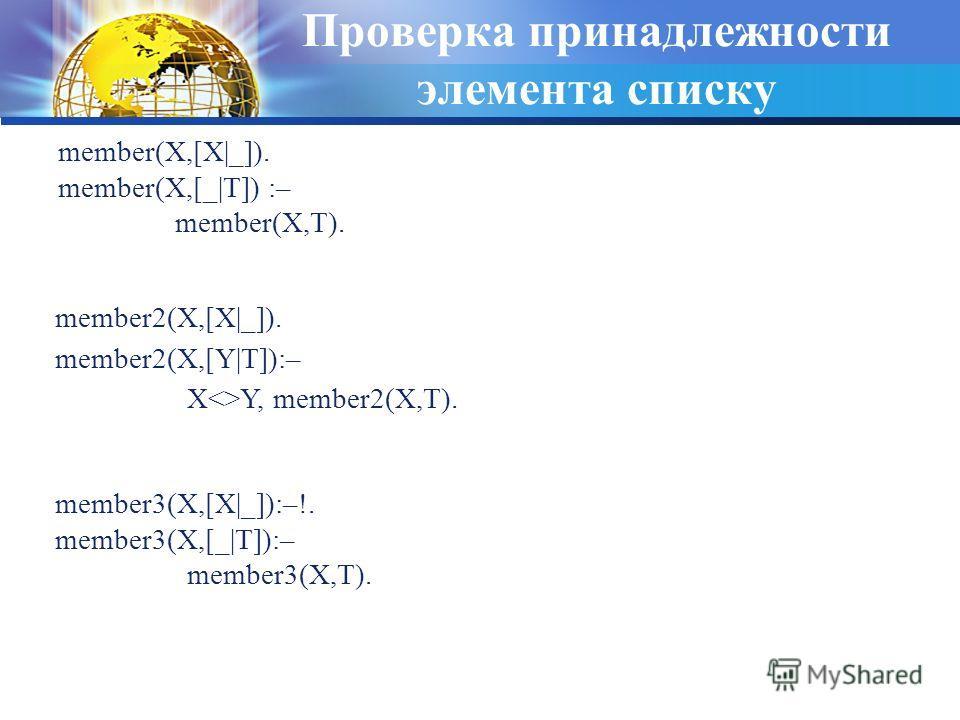 Проверка принадлежности элемента списку member(X,[X|_]). member(X,[_|T]) :– member(X,T). member2(X,[X|_]). member2(X,[Y|T]):– XY, member2(X,T). member3(X,[X|_]):–!. member3(X,[_|T]):– member3(X,T).