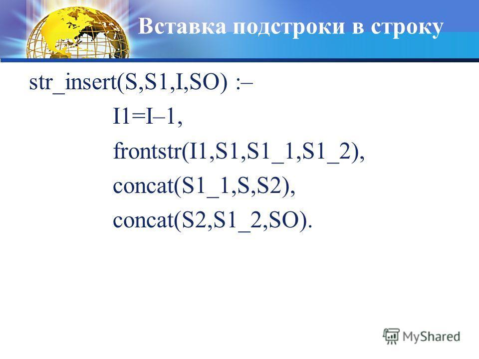 Вставка подстроки в строку str_insert(S,S1,I,SO) :– I1=I–1, frontstr(I1,S1,S1_1,S1_2), concat(S1_1,S,S2), concat(S2,S1_2,SO).