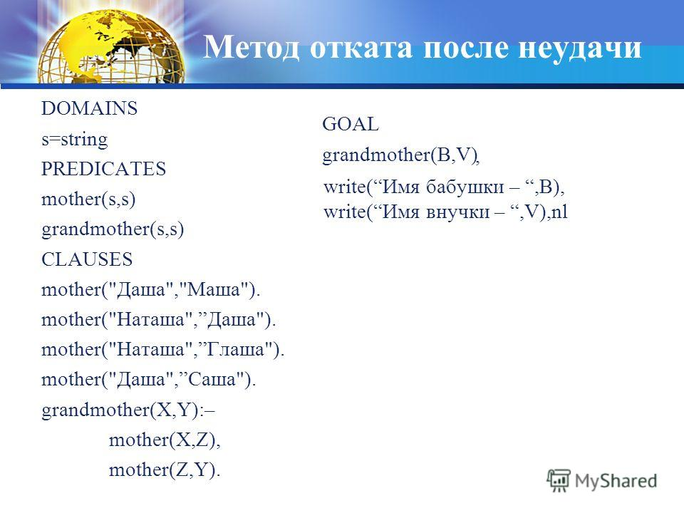 Метод отката после неудачи DOMAINS s=string PREDICATES mother(s,s) grandmother(s,s) CLAUSES mother(