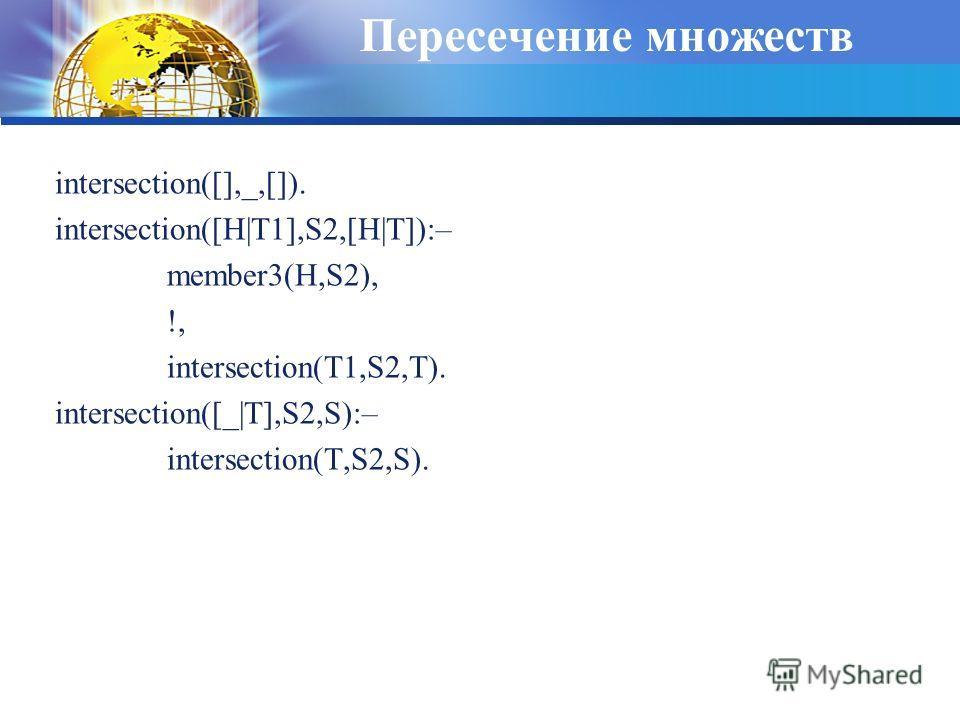 Пересечение множеств intersection([],_,[]). intersection([H|T1],S2,[H|T]):– member3(H,S2), !, intersection(T1,S2,T). intersection([_|T],S2,S):– intersection(T,S2,S).