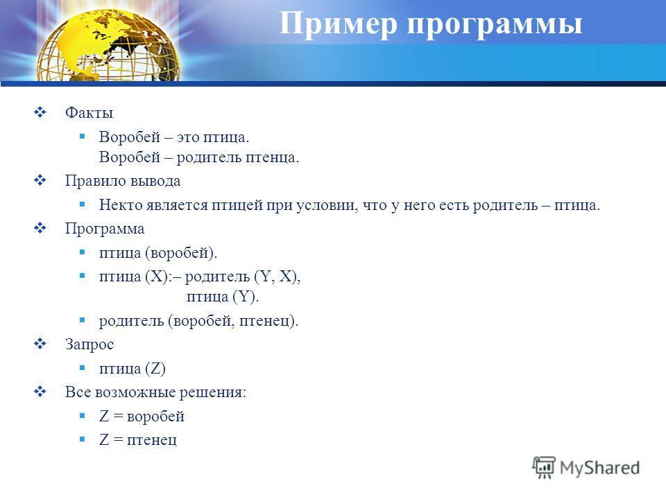 Пример программы Факты Воробей – это птица. Воробей – родитель птенца. Правило вывода Некто является птицей при условии, что у него есть родитель – птица. Программа птица (воробей). птица (X):– родитель (Y, X), птица (Y). родитель (воробей, птенец).