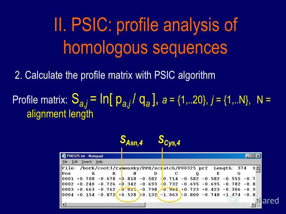 II. PSIC: profile analysis of homologous sequences 2. Calculate the profile matrix with PSIC algorithm Profile matrix: S a,j = ln[ p a,j / q a ], a = {1,..20}, j = {1,..N}, N = alignment length S Asn,4 S Cys,4