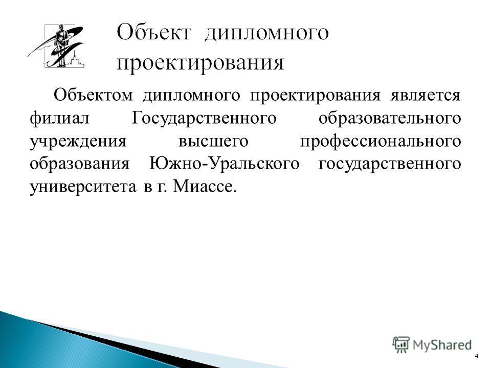 Объектом дипломного проектирования является филиал Государственного образовательного учреждения высшего профессионального образования Южно-Уральского государственного университета в г. Миассе. 4