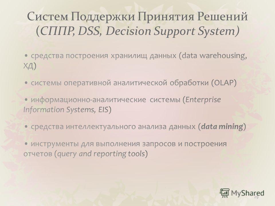 Систем Поддержки Принятия Решений (СППР, DSS, Decision Support System) 29