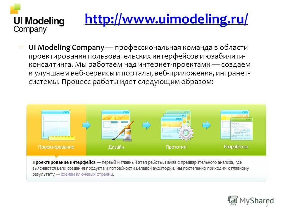 UI Modeling Company профессиональная команда в области проектирования пользовательских интерфейсов и юзабилити- консалтинга. Мы работаем над интернет-проектами создаем и улучшаем веб-сервисы и порталы, веб-приложения, интранет- системы. Процесс работ
