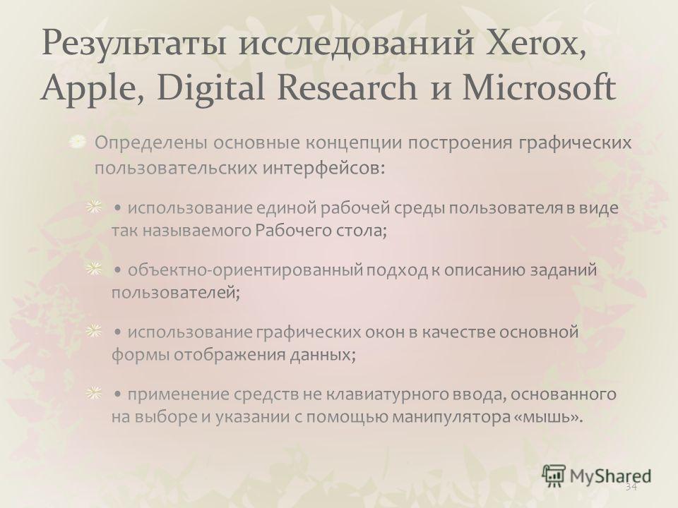 Результаты исследований Xerox, Apple, Digital Research и Microsoft 34
