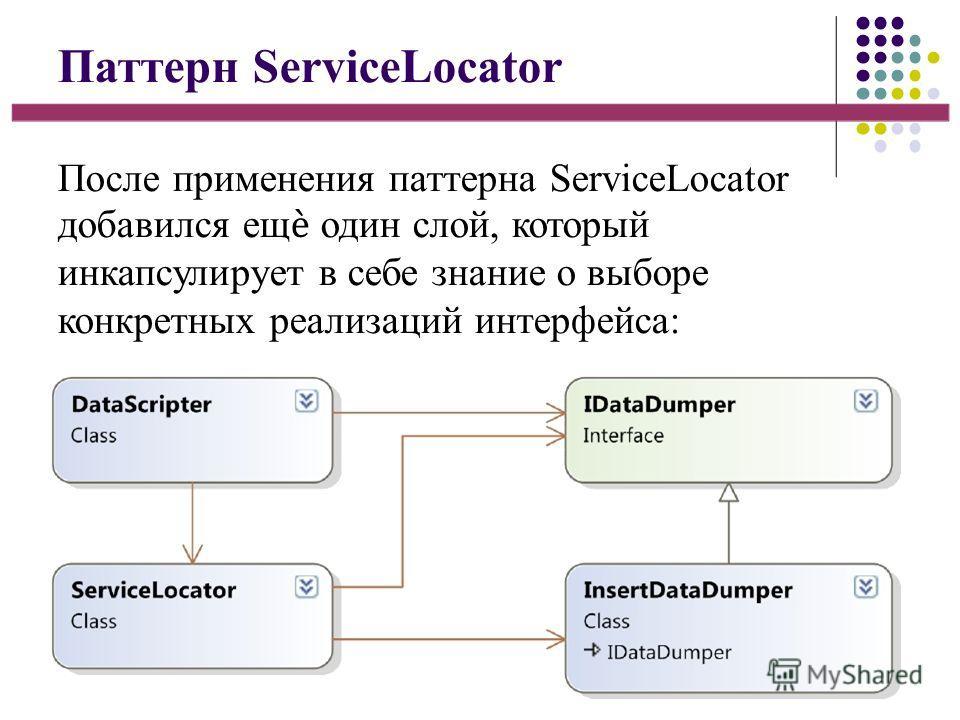 Паттерн ServiceLocator После применения паттерна ServiceLocator добавился ещ один слой, который инкапсулирует в себе знание о выборе конкретных реализаций интерфейса: