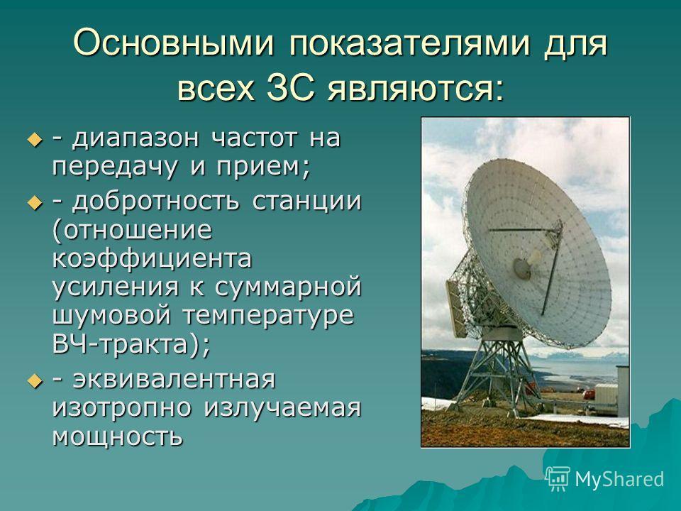 Основными показателями для всех ЗС являются: - диапазон частот на передачу и прием; - диапазон частот на передачу и прием; - добротность станции (отношение коэффициента усиления к суммарной шумовой температуре ВЧ-тракта); - добротность станции (отнош
