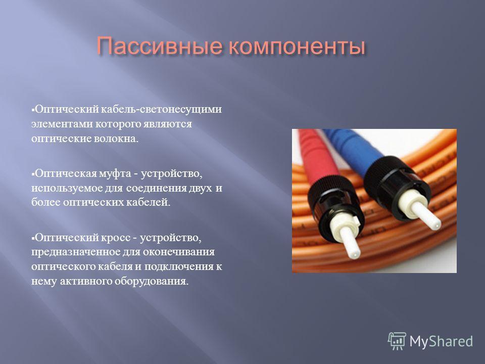 Пассивные компоненты Оптический кабель - светонесущими элементами которого являются оптические волокна. Оптическая муфта - устройство, используемое для соединения двух и более оптических кабелей. Оптический кросс - устройство, предназначенное для око