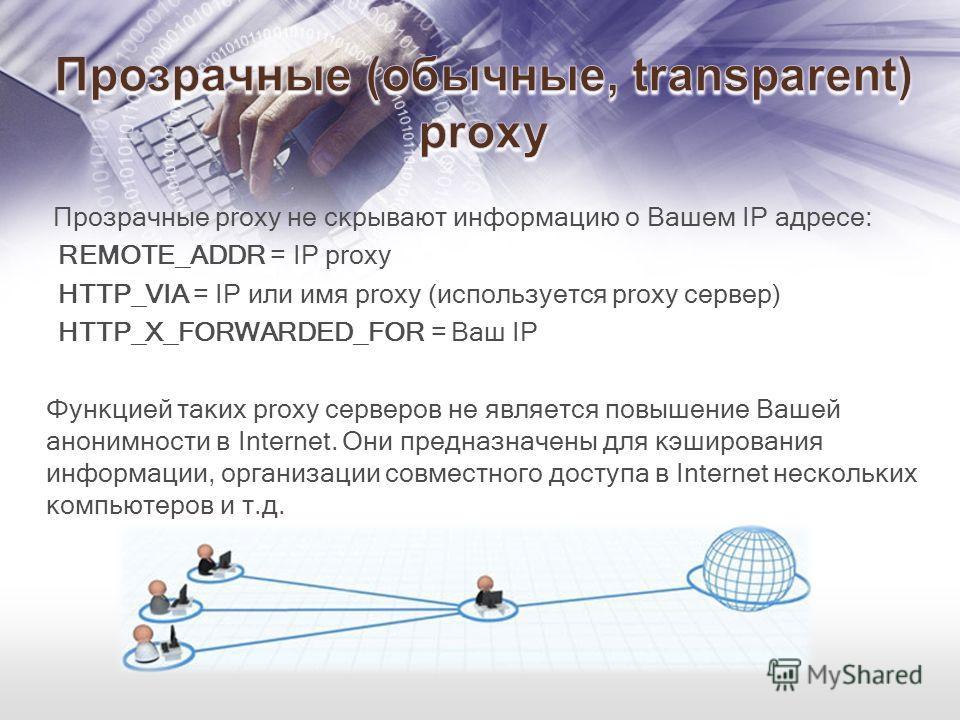 Прозрачные proxy не скрывают информацию о Вашем IP адресе: REMOTE_ADDR = IP proxy HTTP_VIA = IP или имя proxy (используется proxy сервер) HTTP_X_FORWARDED_FOR = Ваш IP Функцией таких proxy серверов не является повышение Вашей анонимности в Internet.