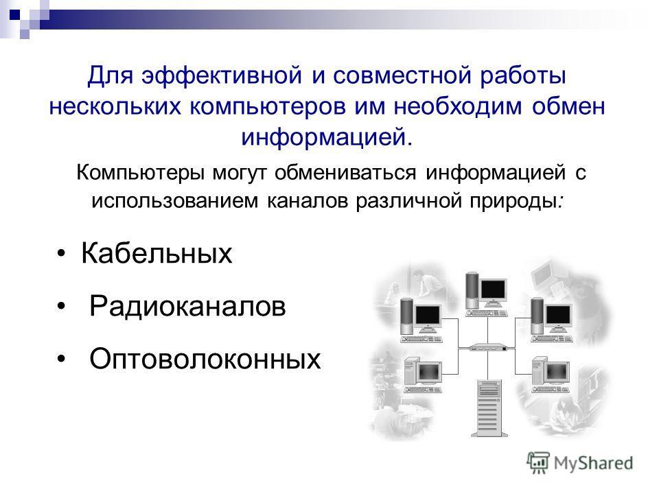 Для эффективной и совместной работы нескольких компьютеров им необходим обмен информацией. Компьютеры могут обмениваться информацией с использованием каналов различной природы: Кабельных Радиоканалов Оптоволоконных