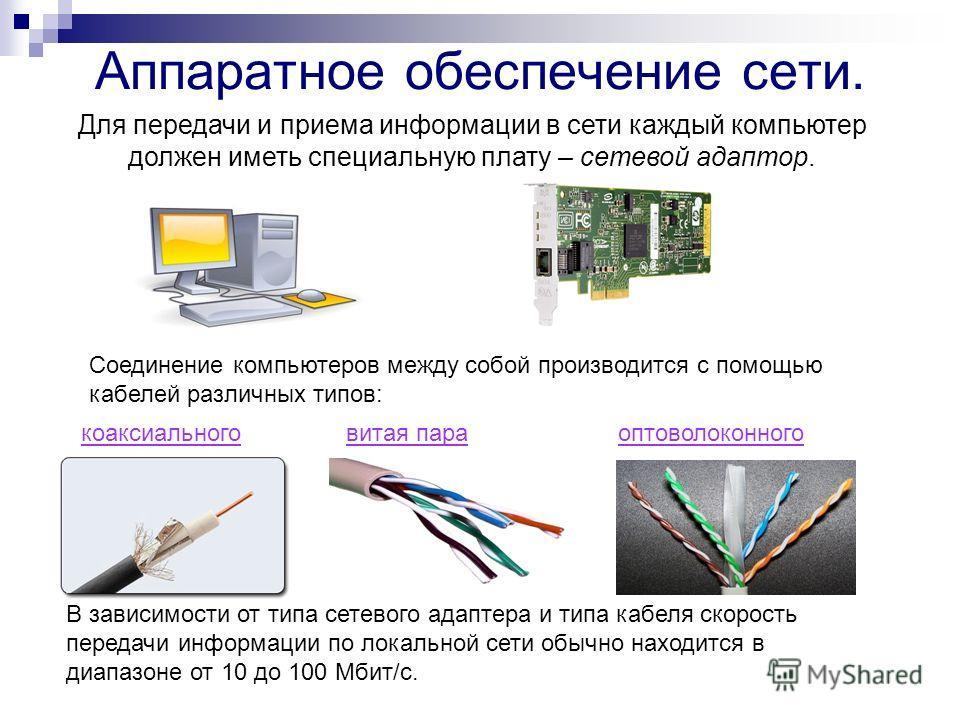 Аппаратное обеспечение сети. Для передачи и приема информации в сети каждый компьютер должен иметь специальную плату – сетевой адаптор. Соединение компьютеров между собой производится с помощью кабелей различных типов: В зависимости от типа сетевого