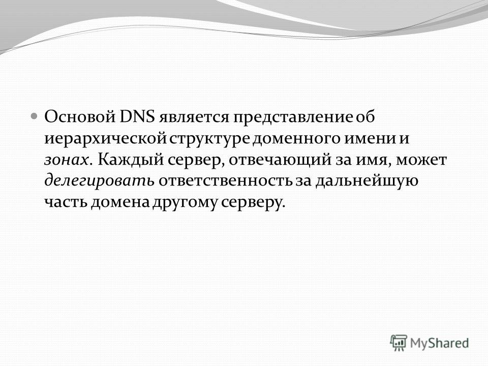 Основой DNS является представление об иерархической структуре доменного имени и зонах. Каждый сервер, отвечающий за имя, может делегировать ответственность за дальнейшую часть домена другому серверу.