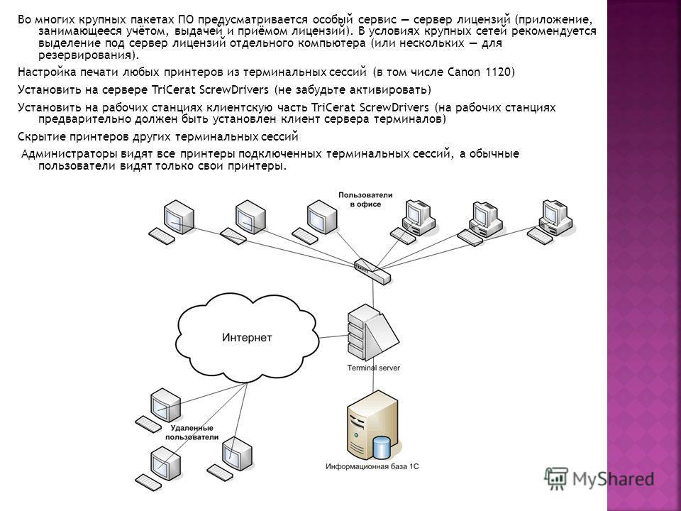 Во многих крупных пакетах ПО предусматривается особый сервис сервер лицензий (приложение, занимающееся учётом, выдачей и приёмом лицензий). В условиях крупных сетей рекомендуется выделение под сервер лицензий отдельного компьютера (или нескольких для