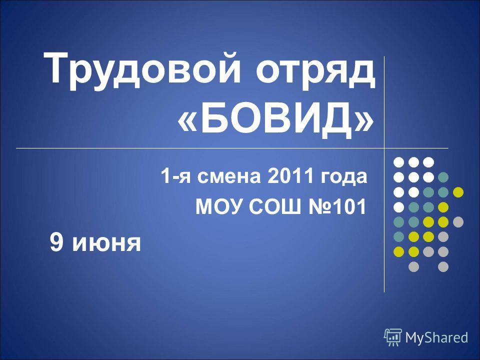 Трудовой отряд «БОВИД» 1-я смена 2011 года МОУ СОШ 101 9 июня