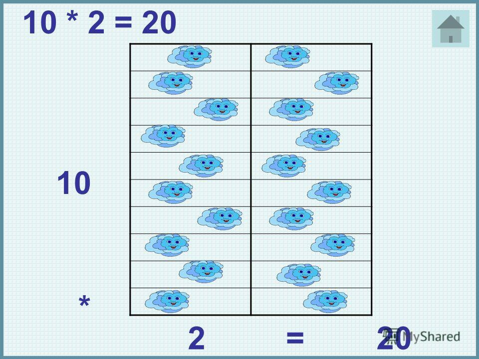 10 * 2=20 10 * 2 = 20