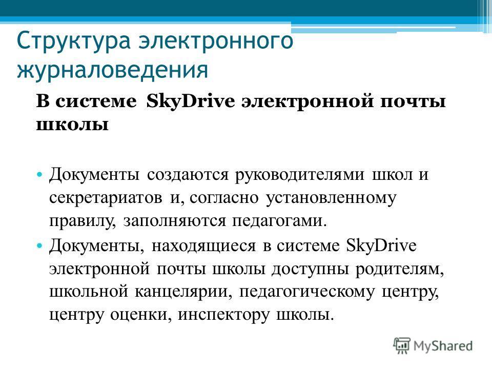 Структура электронного журналоведения В системе SkyDrive электронной почты школы Документы создаются руководителями школ и секретариатов и, согласно установленному правилу, заполняются педагогами. Документы, находящиеся в системе SkyDrive электронной