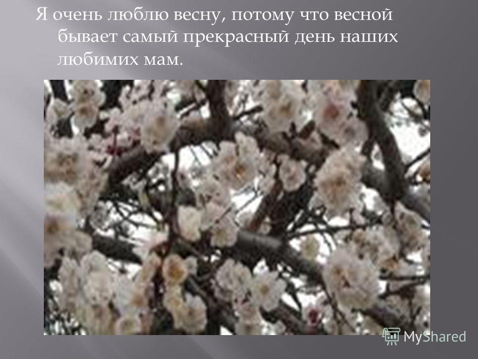 Я очень люблю весну, потому что весной бывает самый прекрасный день наших любимих мам.