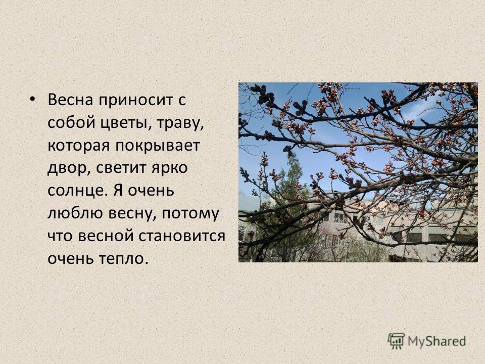 Весна приносит с собой цветы, траву, которая покрывает двор, светит ярко солнце. Я очень люблю весну, потому что весной становится очень тепло.