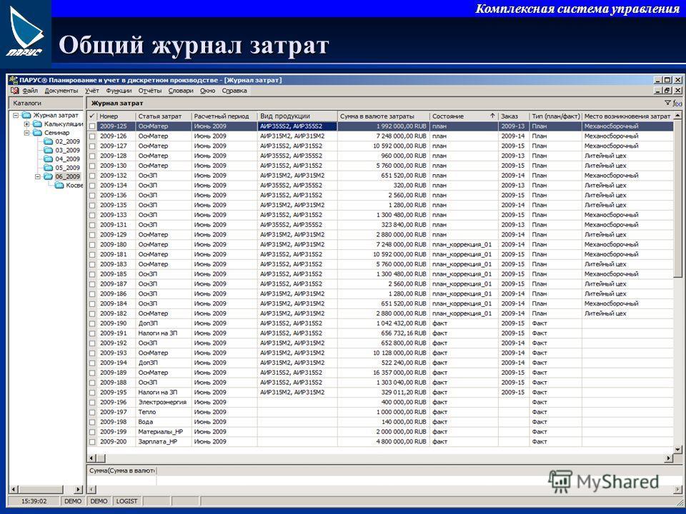 Комплексная система управления Общий журнал затрат