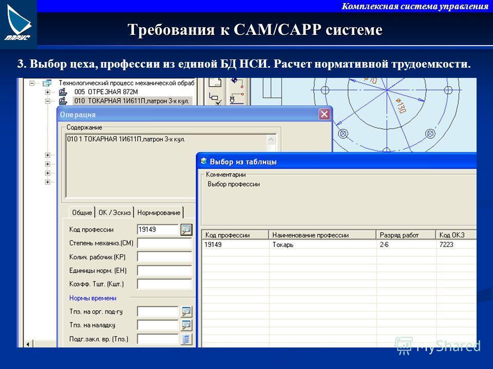 Комплексная система управления Требования к CAM/CAPP системе 3. Выбор цеха, профессии из единой БД НСИ. Расчет нормативной трудоемкости.