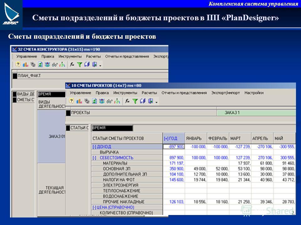 Комплексная система управления Сметы подразделений и бюджеты проектов в Сметы подразделений и бюджеты проектов в ПП «PlanDesigner» Сметы подразделений и бюджеты проектов