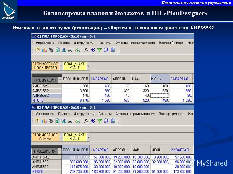 Комплексная система управления Балансировка планов и бюджетов в ПП «PlanDesigner» Изменяем план отгрузки (реализации) – убираем из плана июня двигатели АИР355S2