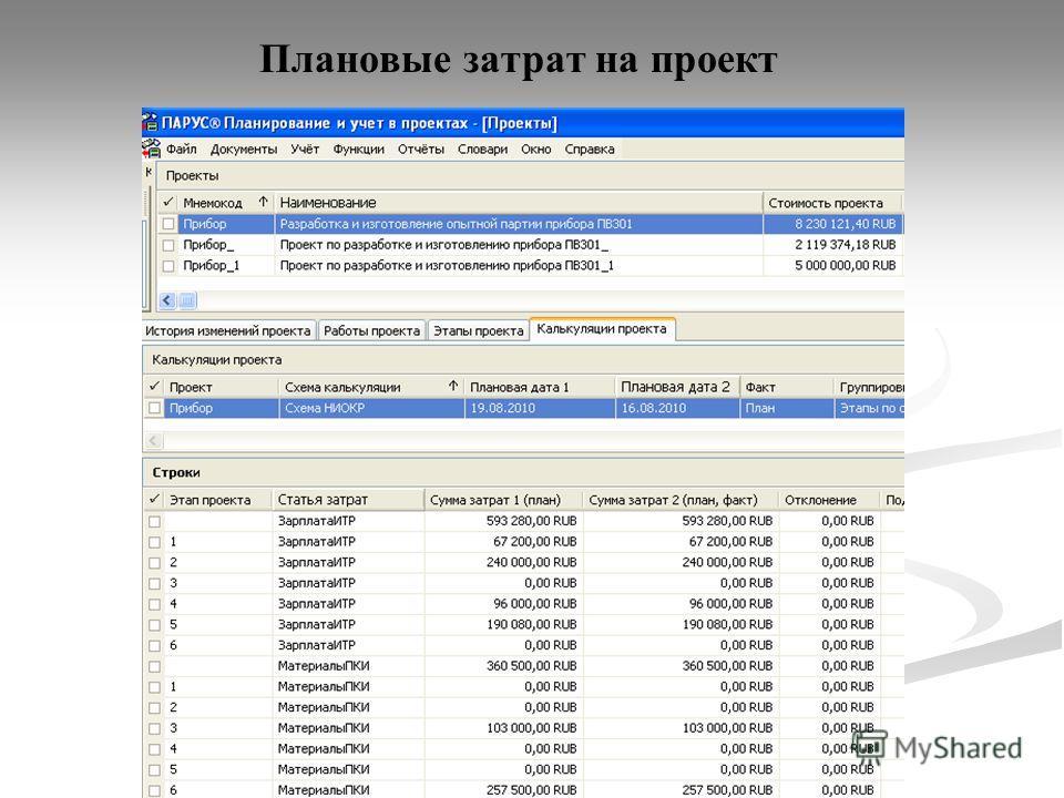 Плановые затрат на проект