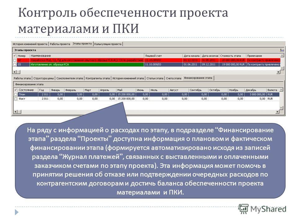 Контроль обеспеченности проекта материалами и ПКИ На ряду с информацией о расходах по этапу, в подразделе Финансирование этапа раздела Проекты доступна информация о плановом и фактическом финансировании этапа ( формируется автоматизировано исходя из