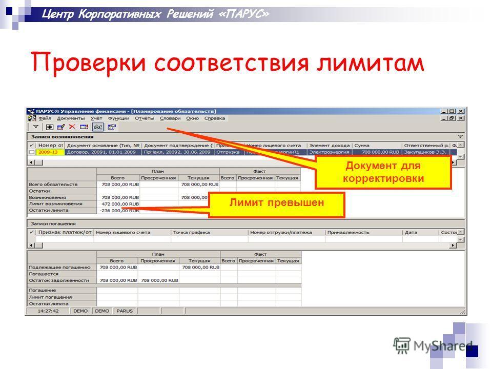 Центр Корпоративных Решений «ПАРУС» Проверки соответствия лимитам Лимит превышен Документ для корректировки