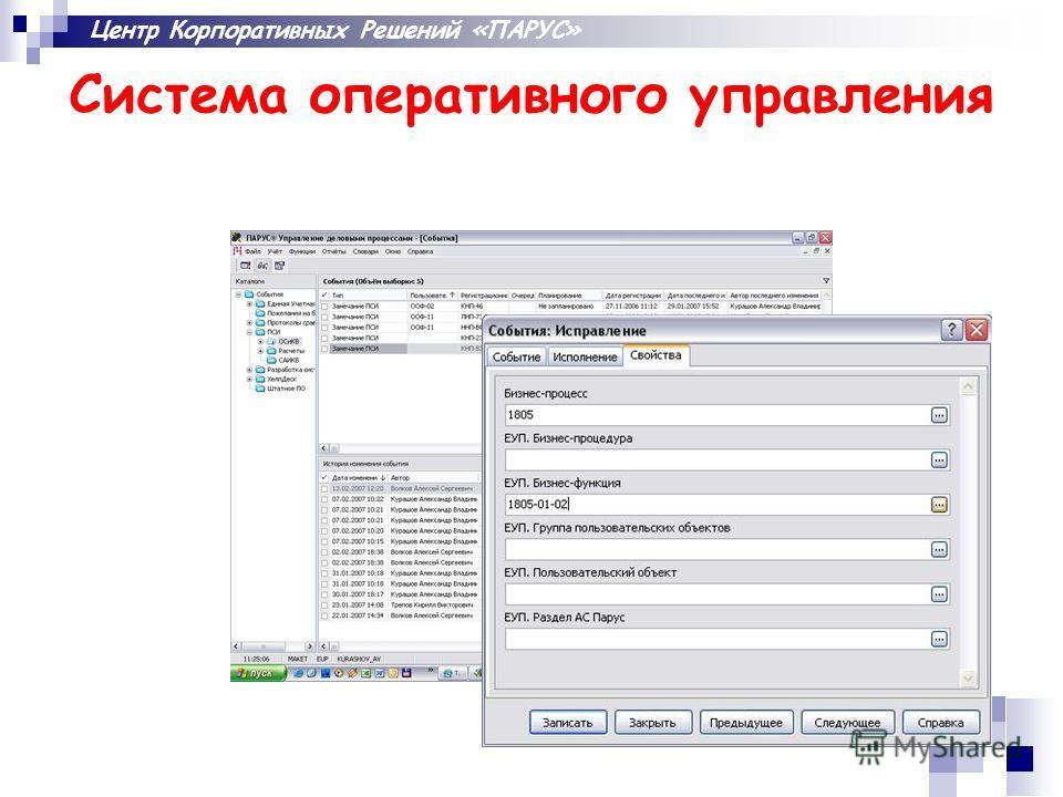 Центр Корпоративных Решений «ПАРУС» Система оперативного управления