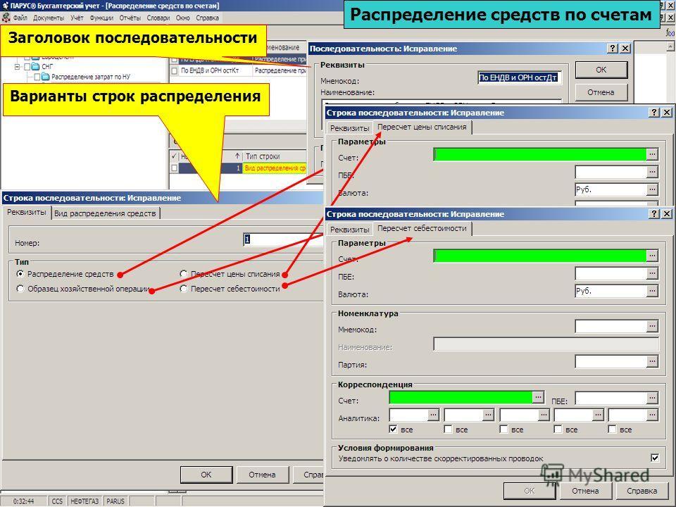 Заголовок последовательности Распределение средств по счетам Варианты строк распределения