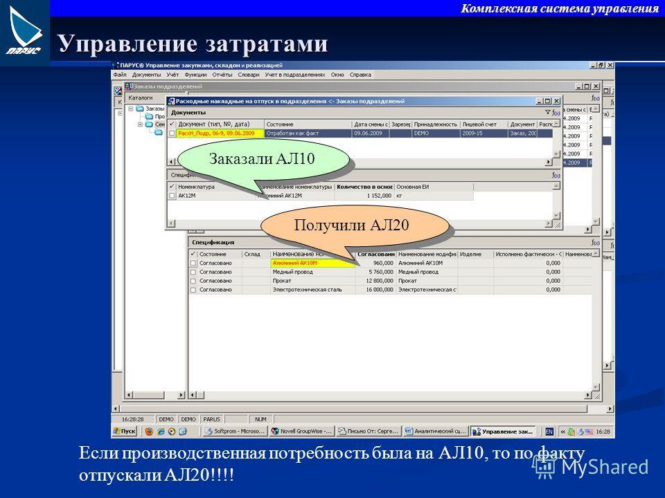 Комплексная система управления Управление затратами Если производственная потребность была на АЛ10, то по факту отпускали АЛ20!!!! Заказали АЛ10 Получили АЛ20