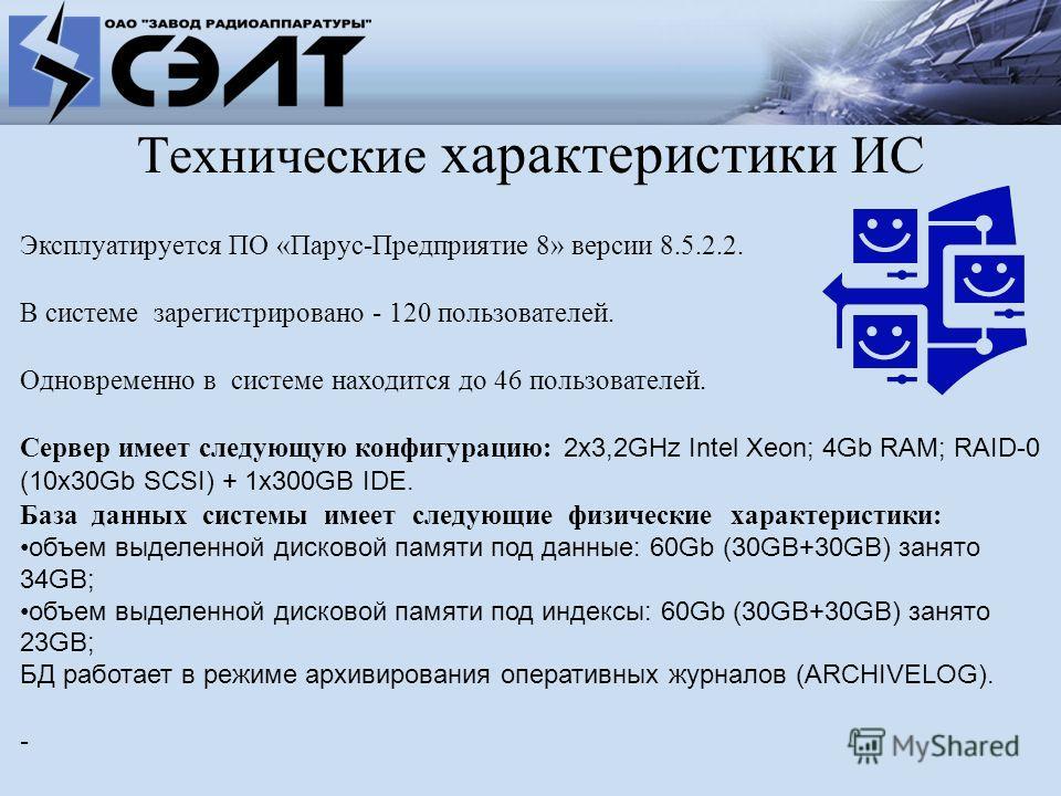 Технические характеристики ИС Эксплуатируется ПО «Парус-Предприятие 8» версии 8.5.2.2. В системе зарегистрировано - 120 пользователей. Одновременно в системе находится до 46 пользователей. Сервер имеет следующую конфигурацию: 2х3,2GHz Intel Xeon; 4Gb