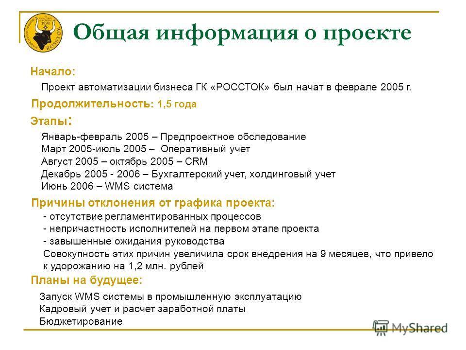 Общая информация о проекте Проект автоматизации бизнеса ГК «РОССТОК» был начат в феврале 2005 г. Начало: Продолжительность : 1,5 года Этапы : Январь-февраль 2005 – Предпроектное обследование Март 2005-июль 2005 – Оперативный учет Август 2005 – октябр