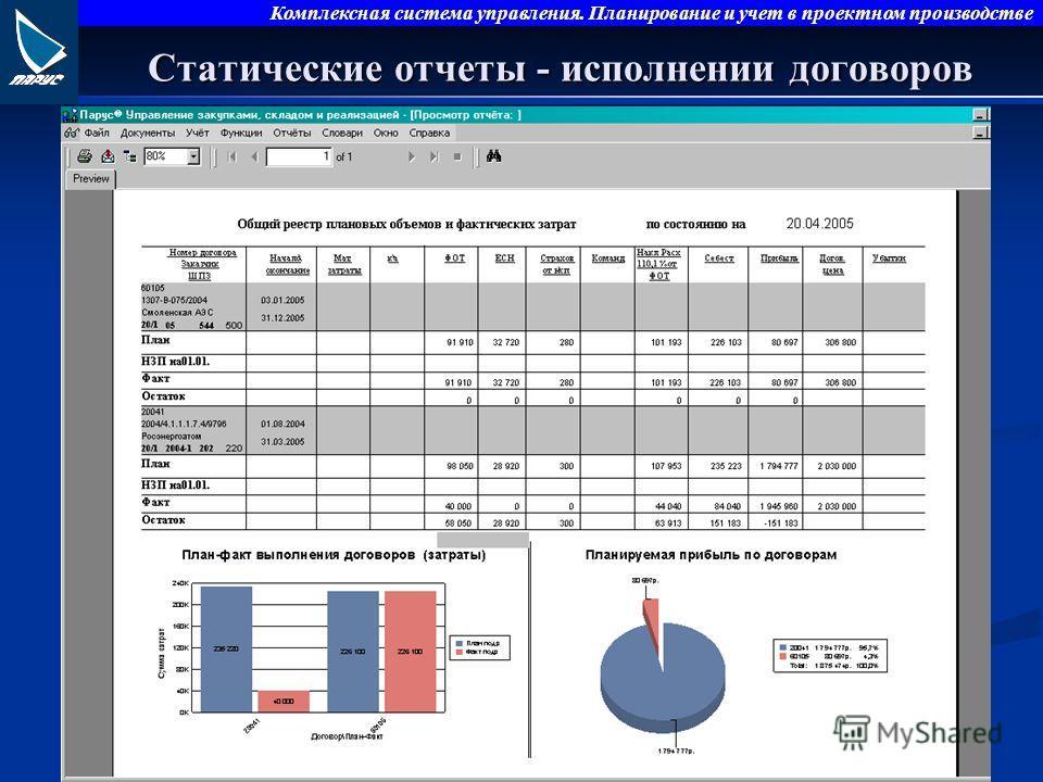 Комплексная система управления. Планирование и учет в проектном производстве Статические отчеты - исполнении договоров