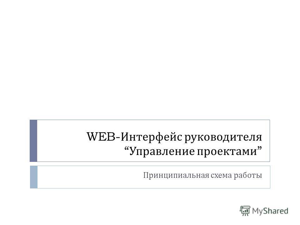 WEB- Интерфейс руководителя Управление проектами Принципиальная схема работы