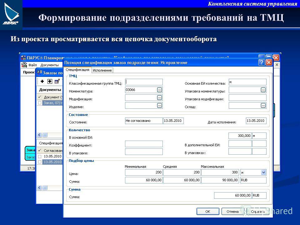 Комплексная система управления Формирование подразделениями требований на ТМЦ Из проекта просматривается вся цепочка документооборота