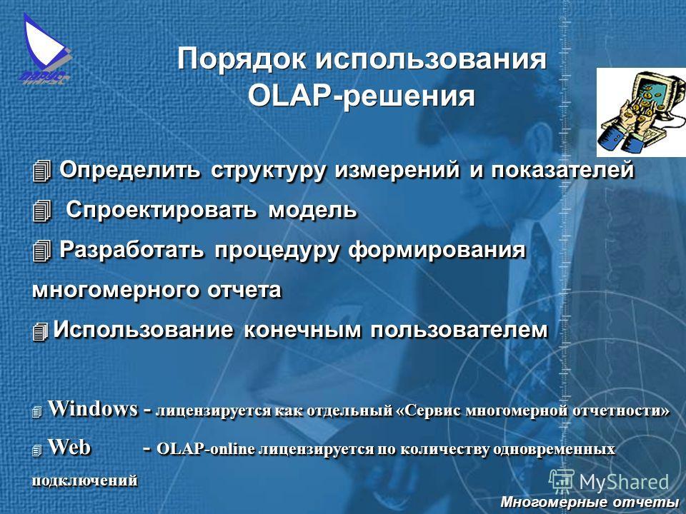 Порядок использования OLAP-решения Определить структуру измерений и показателей Определить структуру измерений и показателей Спроектировать модель Разработать процедуру формирования многомерного отчета Спроектировать модель Разработать процедуру форм