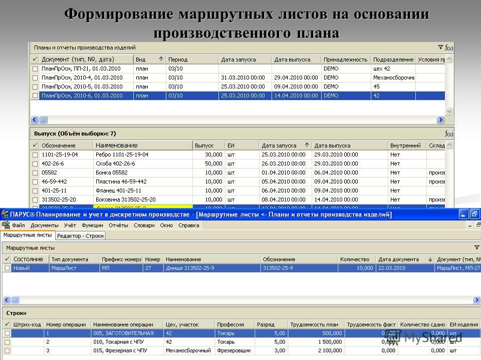 Формирование маршрутных листов на основании производственного плана