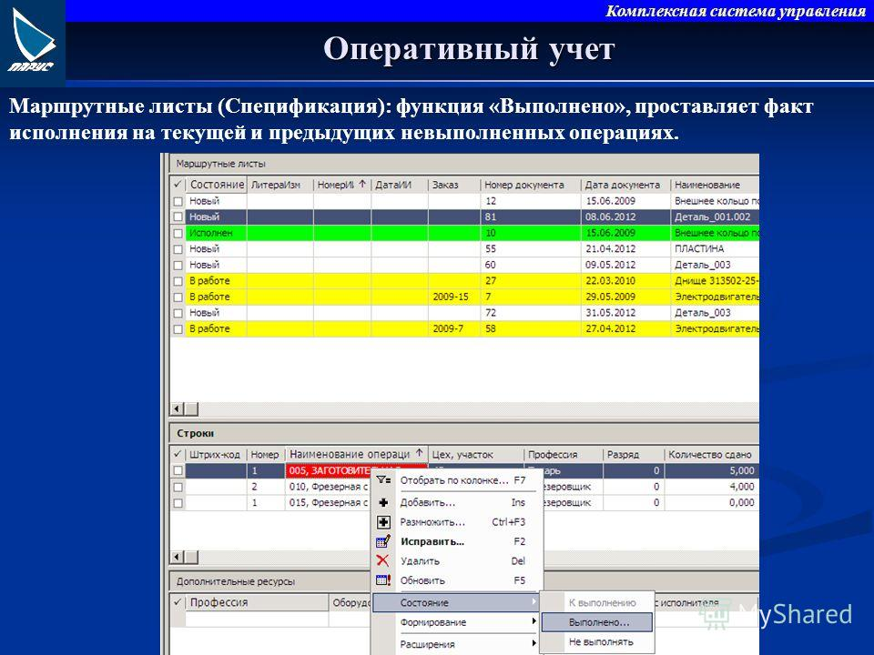 Комплексная система управления Оперативный учет Маршрутные листы (Спецификация): функция «Выполнено», проставляет факт исполнения на текущей и предыдущих невыполненных операциях.