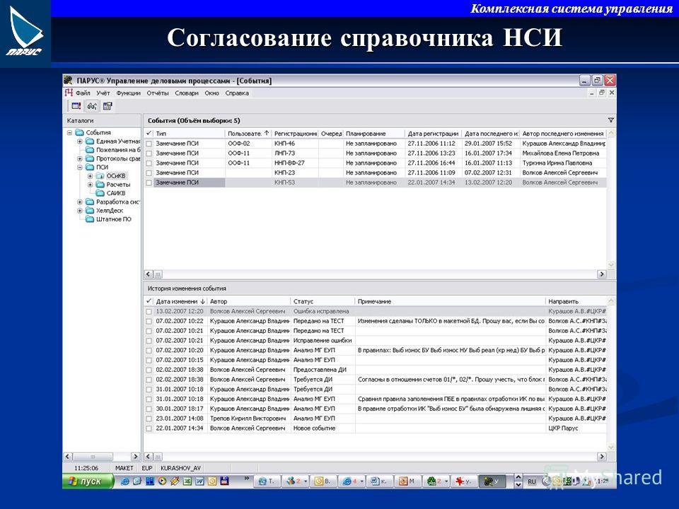 Комплексная система управления Согласование справочника НСИ