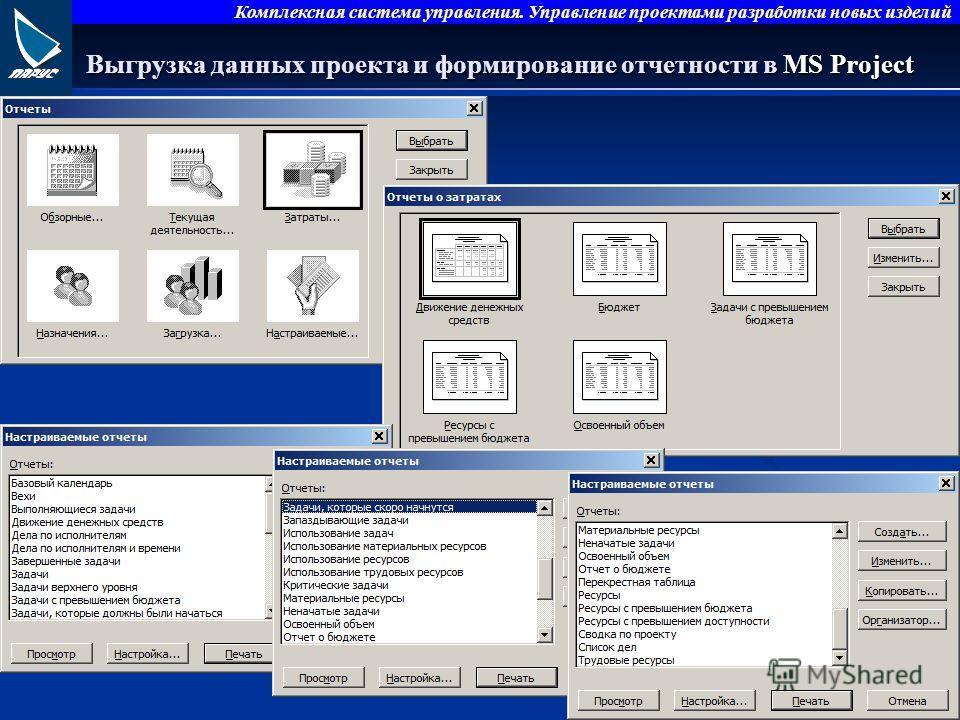 Комплексная система управления. Управление проектами разработки новых изделий Выгрузка данных проекта и формирование отчетности в MS Project