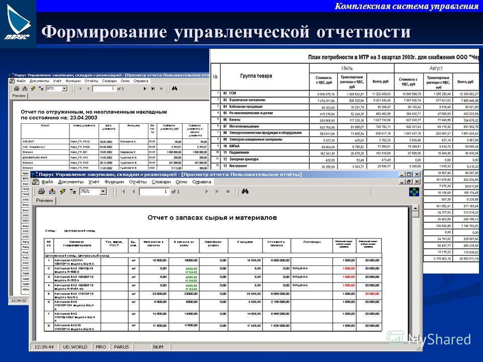 Комплексная система управления Формирование управленческой отчетности