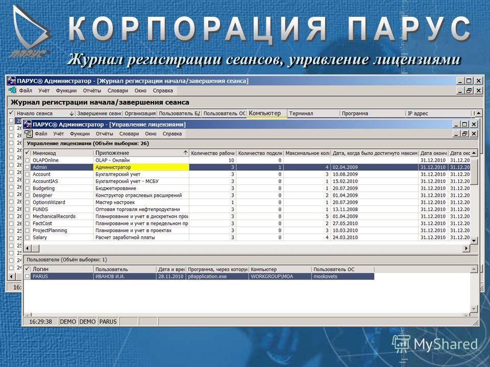 Журнал регистрации сеансов, управление лицензиями