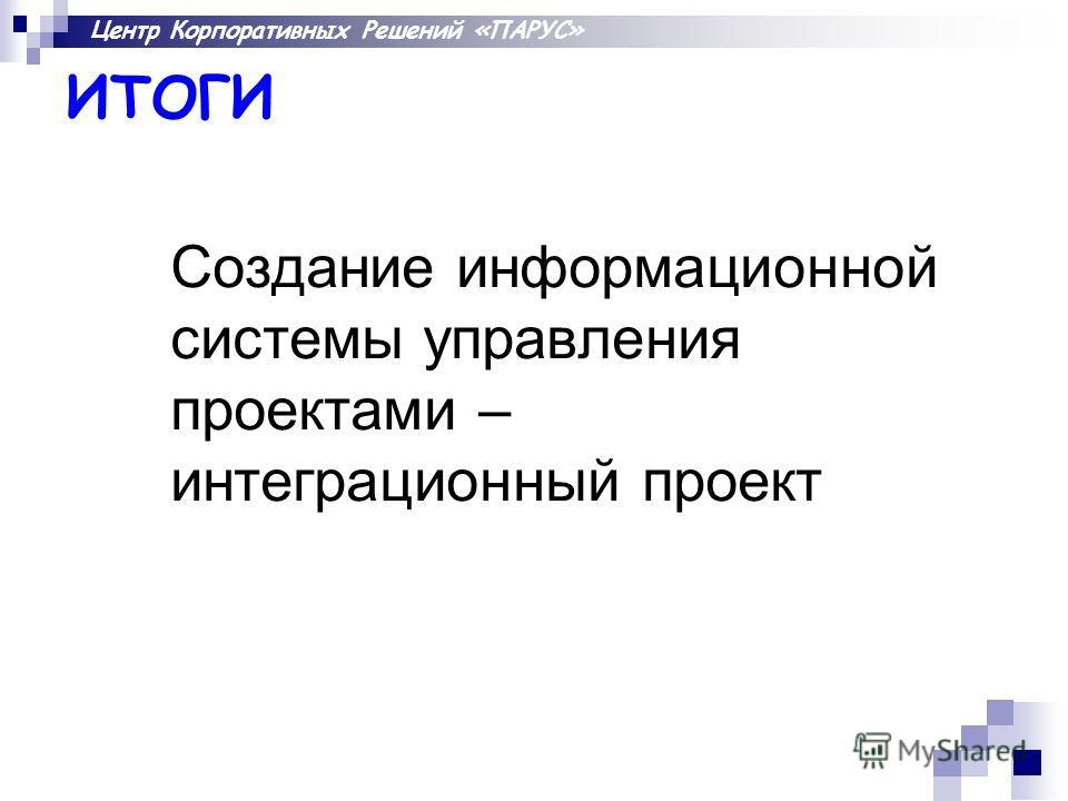 Центр Корпоративных Решений «ПАРУС» ИТОГИ Создание информационной системы управления проектами – интеграционный проект