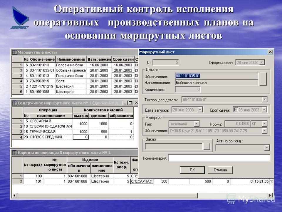 Оперативный контроль исполнения оперативных производственных планов на основании маршрутных листов